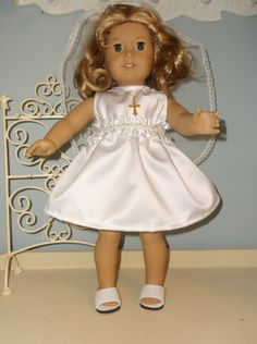 18 Inch American Girl doll First communion Dress by ProjectFunway, $17.99