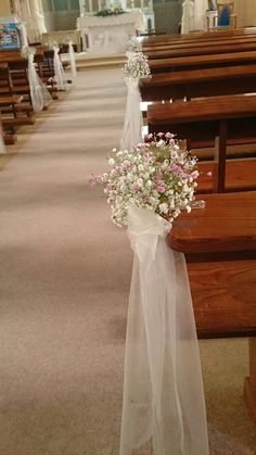 decoration eglise Baby's breath posies in pink and white with trailing organza sashes Church Wedding Decorations Aisle, Wedding Church Aisle, Church Wedding Flowers, Wedding Pews, Wedding Chairs, Rustic Church Wedding, Baby's Breath, Flower Arrangements, Wedding Planning
