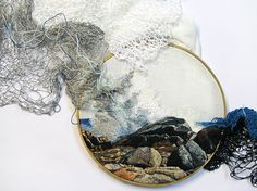 embroidery-art-thread-landscapes-ana-teresa-barboza-5 textile art playing with textural motifs and clever use of materials to show flow and movement natural to a seascape by continuing the work outside the frame