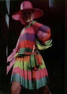 Nina Ricci L'Officiel magazine 1968 vintage fashion designer couture 60s 70s color stripes pink purple red green blue silk dress hat bow mini skirt