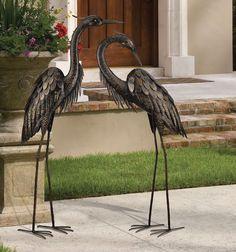 """Pair Bronze Heron Crane Bird Metal Garden Patio Yard Art Sculpture Statues 44"""""""