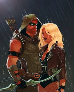 Green Arrow and Black Canary by Stephen Bryne