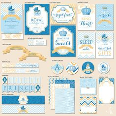"""Custom Royal Baby Shower - Little Prince - """"The Mostess"""" PRINTABLE Party Collection & Invitation (Blue)"""