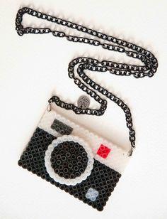 Hama bead camera necklace - love this!