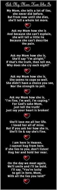 Very good explanation of a mom who has lost a child because it's so true.