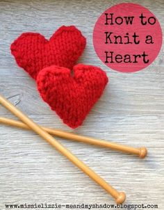 Knitted Heart Pattern (free). A great project for beginner and seasoned knitters!