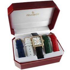 Peugeot 677g Women's Crystal Bezel 5 Interchangeable Leather Strap Watch