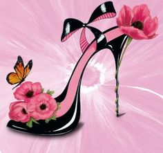 Flower & Butterfly High Heel Illustration