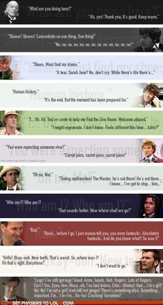 Doctor Who - first and last lines of the Doctors