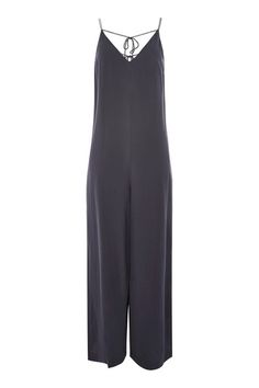 This black jumpsuit is a great look for weekends or beach holidays. This sleeveless one-piece features a V-neckline, a wide leg and slender straps that tie on the back. Team with heeled sandals for enhance the look. Playsuits, Jumpsuits, Tall Guys, Tall Women, Black Jumpsuit, Tie Backs, Topshop, One Piece, Overalls