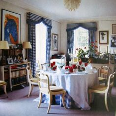 I will be dreaming to the blue and white gingham window treatments in this dining room of the Duke and Duchess of Devonshire. Absolutely wonderful.