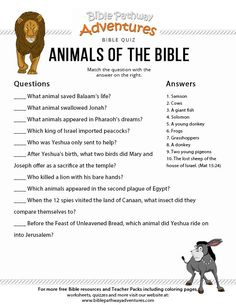 animals of the bible quiz free download