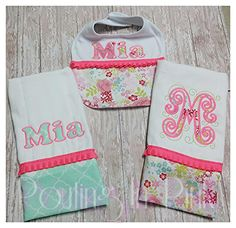 Beautiful baby floral gift set. Includes a bib and two burp cloths.  Can be done with any color, name, and fabric for a baby girl or boy. Monogram or Applique included. Perfect as a baby shower gift.  Please LIKE us on facebook. www.facebook.com/poutinginpink