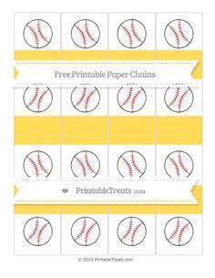 Free Mustard Yellow  Baseball Paper Chains