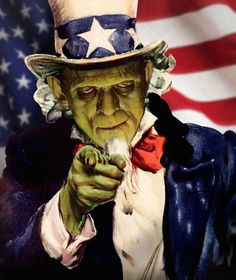 Monsterpappa wants YOU.... to have a happy (and safe) 4th of July! #murica #frankenstein #monsterpappa #monsters