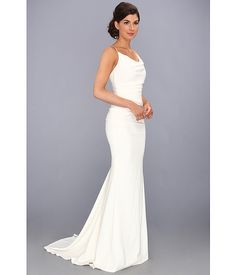 Nicole Miller Cowl Crisscross Strap Gown Antique White - Zappos.com Free Shipping BOTH Ways