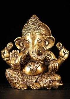View the Small Brass Abhaya Ganesh Statue at Hindu Gods Shri Ganesh Images, Ganesh Chaturthi Images, Ganesha Pictures, Happy Ganesh Chaturthi, Ganesh Idol, Ganesha Art, Lord Murugan Wallpapers, Ganesh Lord, Ganesh Wallpaper