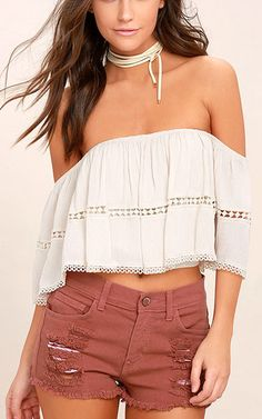 Cut Off The Map Rusty Rose Distressed Jean Shorts via @bestchicfashion