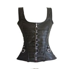 Strap Gothic Black Leather Steel Boned Overbust Corset