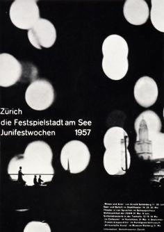 Muller Brockmann, affiche pour le Festspielstadt am See Junifestwochen, 1957