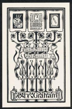 ART Nouveau Bookplate Exlibris BY English Artist E Bengough Ricketts C 1899 | eBay