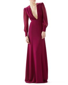 Gucci Long Sleeve Silk Georgette Gown