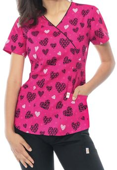 Code Happy Hello Sweetheart Print Scrub Tops With Certainty Scrubs Uniform, Suit Pattern, Phlebotomy, Fun At Work, Scrub Tops, Caregiver, Floral Tops, Nursing Scrubs, Cotton Hoodies