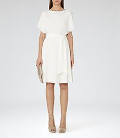Hermione Off White Cut-away Shoulder Dress - REISS