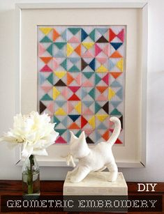 * She Makes a Home *: Colorful Geometric Embroidery Project