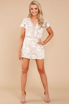 f9ce002c4b11 Chic Lace Romper - Cute Romper - Romper -  46.00 – Red Dress Boutique Rush  Dresses