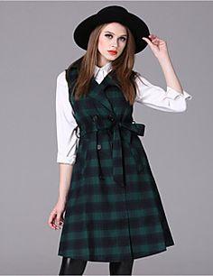 Mulheres Casaco Trench Casual Simples Outono / Inverno,Houndstooth Vermelho / Branco / Verde Elastano Colarinho de Camisa-Sem Manga Média