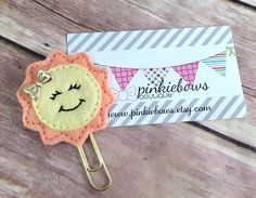 Peach/Yellow/Happy Sunshine/Felt Applique Paper Clip/Planner Clip/Journal Marker/Bookmark by pinkiebows on Etsy