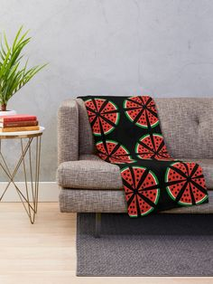 """Watermelon Slices"" Throw Blanket by Pultzar 