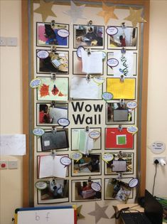 Wow wall children's self display area. Board were children can display their own work or photos of something they have achieved. Reggio Emilia Classroom, Reggio Inspired Classrooms, Reggio Classroom, Classroom Organisation, New Classroom, Classroom Setup, Classroom Design, Year 1 Classroom Layout, Classroom Management