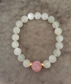 $65 Genuine Moonstone and Rose Quartz Bracelet