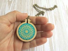 Mandala mini embroidery hoop necklace by Suosaari on Etsy