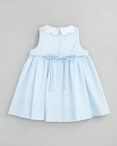 Plain Scalloped Pincord Dress, Light Blue, 12-24 Months Baby Girl Dress Patterns, Little Girl Dresses, Girls Dresses, Baby Frocks Style, Simple Dress Pattern, Dress Anak, Simple Dresses, Kids Outfits, Kids Fashion