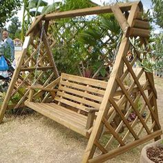 Classic A-Frame Swing Seat Wooden Garden Swing, Garden Swing Seat, Wood Swing, Wooden Garden Chairs, Garden Swings, Porch Swings, A Frame Swing, Diy Swing, Wooden Swing Frame