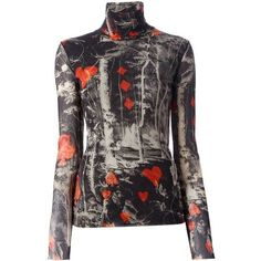 Jean Paul Gaultier Black Sheer Tree Print Top ❤ liked on Polyvore featuring tops, sheer top, mixed print top, print top, transparent top and see through tops