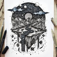 Floating between dreams and space 🌌 . . Done with pens, ink and acrylic paint on Fabriano paper. Prints available in my shop! menisart.etsy.com 🌜