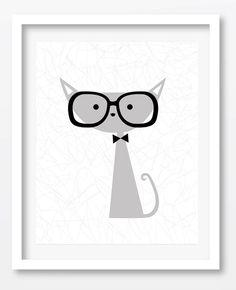 $3.99 Hipster Cat Print cat print 8x10 Printable by dadavinylsanddesigns #hipstercatprint #catprint #minimalistart #cutecat