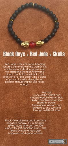 STRENGTH: Black Onyx + Red Jade + Skulls Yoga Mala Bead Bracelet