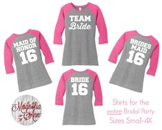 Team Bride Bridal Party Baseball Raglan Sleeve Tops in 5 colors in Sizes Small-4X, Plus Size by MagnoliaAnn on Etsy