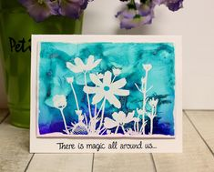 Cassandra , here today, sharing a foiled alcohol ink card made on Yupo. Magenta, Mixed Media Cards, Tim Holtz, Spring, Silhouettes, Mists, Card Making, Scrap, Alcohol Inks