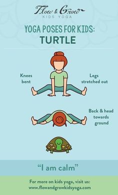 Yoga Poses for Kids: The Turtle Pose. Inspired by the patient turtle, this pose increases mental focus and stretches the arms, back and legs. This pose is great for children who feel overwhelmed or stressed. When emotions are running high, think about the calm and patient turtle and withdraw into your inner shell.