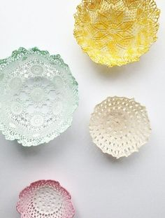 Lace doily bowls will add a shabby chic look to your decor
