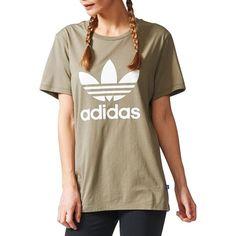 Adidas Boyfriend-Fit Trefoil Tee ($30) ❤ liked on Polyvore featuring tops, t-shirts, beige, boyfriend t shirt, crew t shirts, adidas t shirt, beige t shirt and crew-neck tee