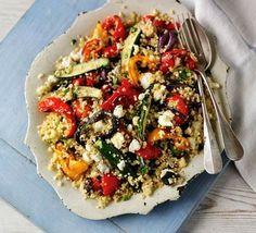 Quinoa  feta salad with roasted vegetables (I have heard from dieticians, doctors, and cooks, that it is awesome healthy to eat dishes with many colors *natural* colors) -  this salad looks delicious!