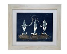 Three female characters who are botanical women. They are herbalists, and they heal with ancient remedies. The piece is made with Cyanotype on 300 gram 100% cotton paper The Langton prestige / Daler Rowney. Intervened with iridescent acrylics and ink.