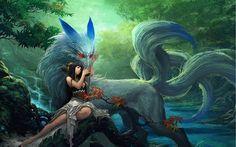 brunettes-women-water-nature-dress-flowers-red-eyes-ninetails-artwork-anime-girls-foxes-children-pics-648286.jpg (800×500)